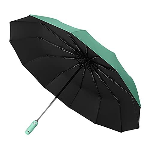 Harilla Reise-Klappschirm Auto Open Close LED Windabweisende Taschenlampe Winddicht Fiberglas Rippen UV-Schutz Regenschirm für Männer Frauen Outdoor - Grün