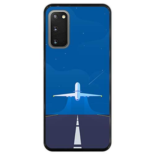 Telefoonhoesje voor [ Samsung Galaxy S20 - S20 5G ] tekening [ Klaar voor een nieuw avontuur, vliegtuig stijgt op ] Zwart TPU flexibele siliconen schaal