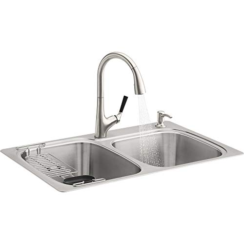 Kohler R75791-2PC-NA All-in-One Dual-Mount Double Bowl Kitchen Sink Kit with Faucet and Accessories, Brushed Stainless