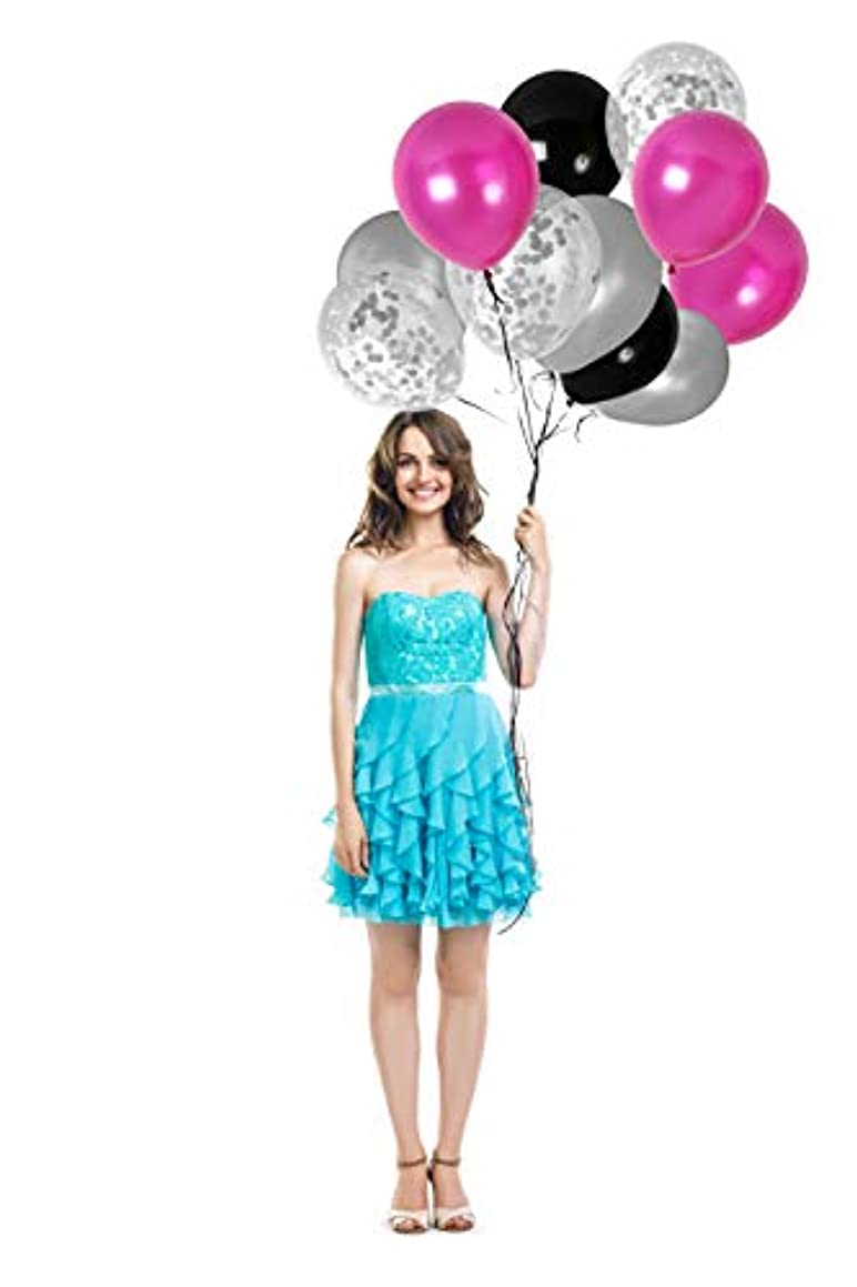 Pink Black and Silver Confetti Balloons Kit for Sweet 16 Birthday Valentines Wedding Anniversary Graduation Party Decorations