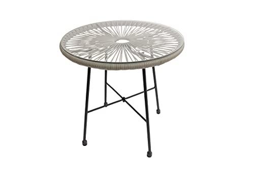 Viva Glastisch Beistelltisch Rund Acapulco Garten Schwarz 50 cm Durchmesser Tisch aus Metall