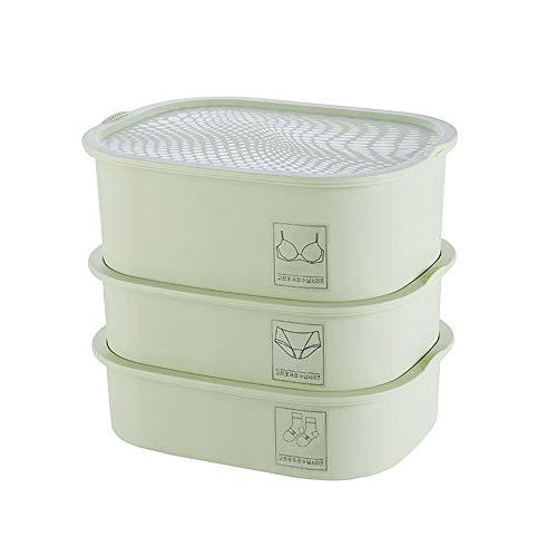 Multifuncional Armario dispensador y la Caja de almacenaje de la Ropa Interior y Todos los Accesorios Set 3 Uso En El Hogar (Color : Green)