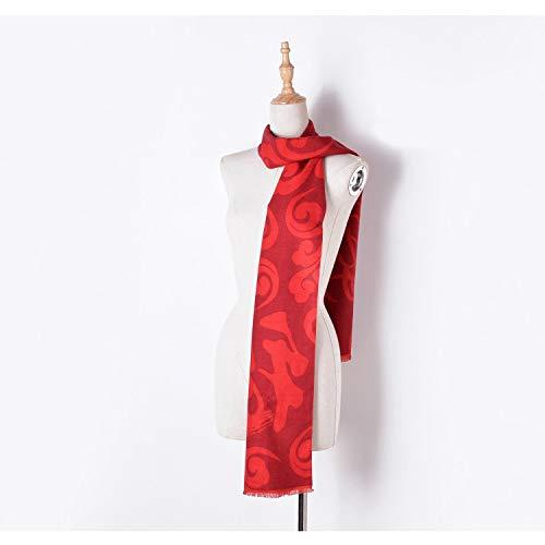 NINGXUE-MAOY Bufandas de la manera Acrílica pura del color rojo de la bufanda carácter chino Bendición unisex grueso del mantón (Color : 01, Size : One size)