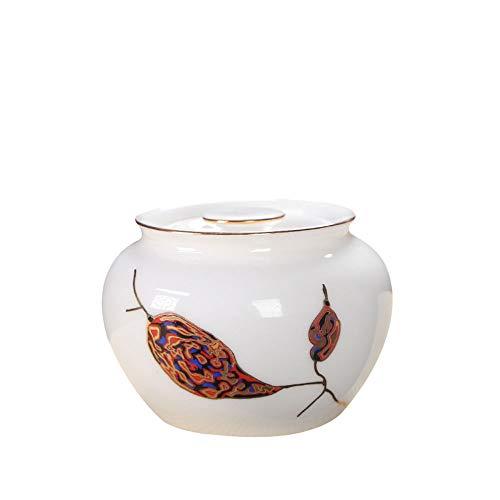 CNTJMJY - Barattolo in silicone con anello in ceramica, per tè, teiera, ermetico, trasparente, per alimenti e cereali, Ceramica, bianco, 10X7CM
