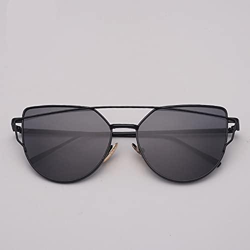 N/A Gafas de Sol de Ojo de Gato de Metal para Mujer, Gafas de Ojo de Gato de Lujo clásicas y clásicas para Mujer, Gafas Retro Espejo Rosa Caliente