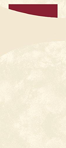 Duni 450056Sacchetto Besteck Taschen mit gefaltet Tissue Servietten Innen, 8,5cm x 19cm, cremefarben Sacchetto und Bordeaux Serviette (500Stück)