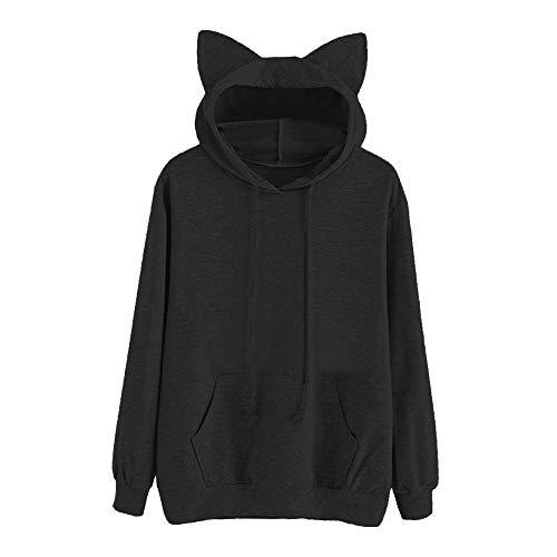Luckycat Neuer Damen Cat Langarm Hoodie Sweatshirt mit Kapuze Pullover Tops Bluse Mode 2018