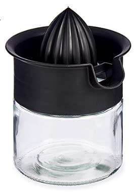 Zitronenpresse, Zitruspresse 480ml aus starken Glas, im eleganten schwarzen Design, passend in jede moderne Küche, Spülmaschinen geeignet, langlebig, Entsafter