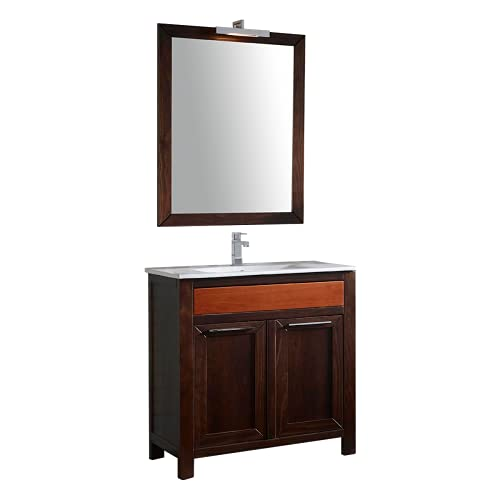ARTEMA MOBILIARIO Mueble de baño con Lavabo y Espejo con luz. Gama Eternity - Estilo clásico (Color Wengue y cajón Cerezo - 100x85x45 - Espejo Enmarcado 90x90 cm)