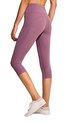 Ecupper Legging Pantacourt de Sport Femme Taille Haute avec Poches Exercices Gym Aptitude 2-Rose 36
