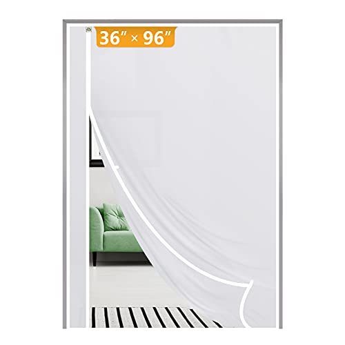 Yotache Magnetic Thermal Insulated Door Curtain Fits Door Size 36 x 96, Reversible Left Right Side Opening Plastic TPU Magnet Door Covers for Front, Kitchen Warm Winter Cool Summer, Semi-Transparent