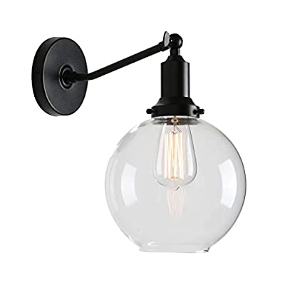 """Permo Industrial Vintage Slope Pole Wall Mount Single Sconce with 7.9"""" Globe Round Clear Glass Shade Wall Sconce Light Lamp Fixture (Black)"""