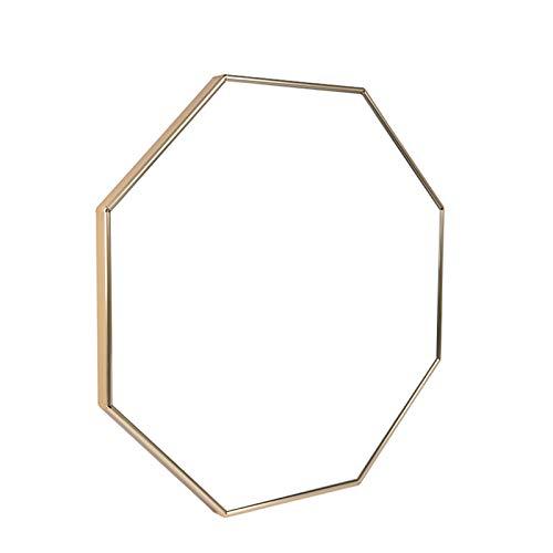 ZKLNO Espejo Octogonal del Dormitorio De La Sala De Estar Minimalista Nórdico, Espejo Impermeable del Lavabo del Baño De La Pared De Aleación De Aluminio del Hogar,Oro