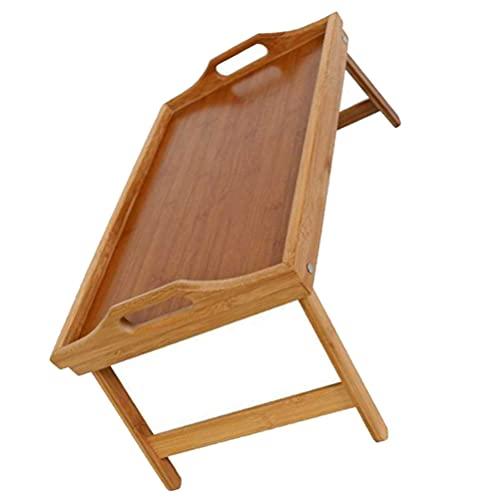 Cabilock Bamboe Bed Lade Tafel Met Opvouwbare Benen Eten Ontbijt Lade Opvouwbare Hout Dienblad Serveren Schoot Bureau Snack Tray