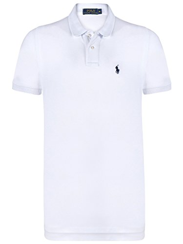 Ralph Lauren Herren Polo Poloshirt Custom Fit *Small Pony* Size: XL / WHITE