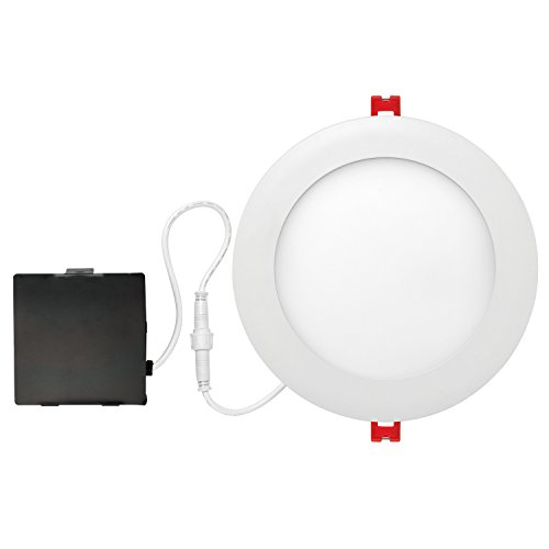 """Globe Electric 6"""" LED Integrated Ultra Slim Recessed Lighting Kit, 12 Watts, Energy Star, IC Rated, Dimmable, Wet Rated, Fixed Flood, White Finish, 90933"""