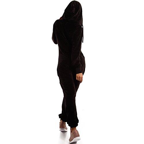 Crazy Age Damen Jumpsuit aus Samt (Nicki, Velvet) Wohlfühlen mit Style. Elegant, Kuschelig, Weich. Overall Ganzkörperanzug Onesie (Schwarz, L) - 3