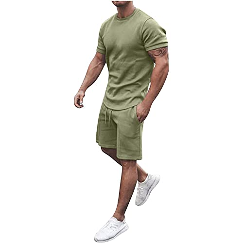 2021 Herren Jogginganzug Sportanzug, 2-Teiliges Outfit Sport Set Kurzarm Suit Sommer Freizeit Kurze Sets Sporthose+T-shirt mit Taschen Männer Trainingsanzug Sporthose Freizeitanzug