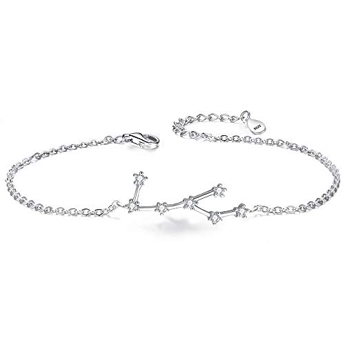 Clearine Armkette Sternzeichen 925 Sterling Silber CZ 12 Sternbild ''Jungfrau'' Einfach Stil Armband für Damen Mädschen