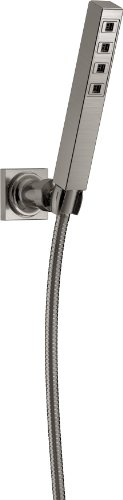 Delta Faucet Single-Spray H2Okinetic Wall-Mount Hand Held Shower with Hose, Stainless 55567-SS