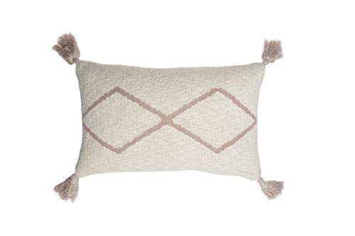 Lorena Canals - Cojín de Punto Little Oasis Nat-Pale Pink - Natural, Rosa pálido - Cubierta: 100% algodón/Relleno: 100% poliéster - 40x25 cm