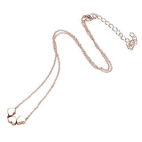 TTGE Collares Colgante 2021 de Acero Inoxidable para Mujer, Collar de Cadena con Colgante de Tres Corazones, joyería de Lujo, Regalo Femenino