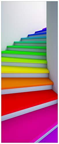 Wallario Acrylglasbild XXL Bunte Treppe - 80 x 200 cm in Premium-Qualität: Brillante Farben, freischwebende Optik