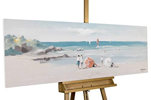 Kunstloft Cuadro en acrílico 'Día de Playa' 150x50cm | Original Pintura XXL Pintado a Mano sobre Lienzo | Playa Mar Beige Azul | Cuadro acrílico de Arte Moderno en una Pieza con Marco