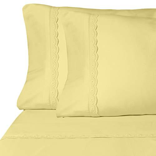 ViscoSoft Microfiber Deep Pocket Yellow Sheets - Elegant Eyelet Full Size 4-Piece Sheet Set