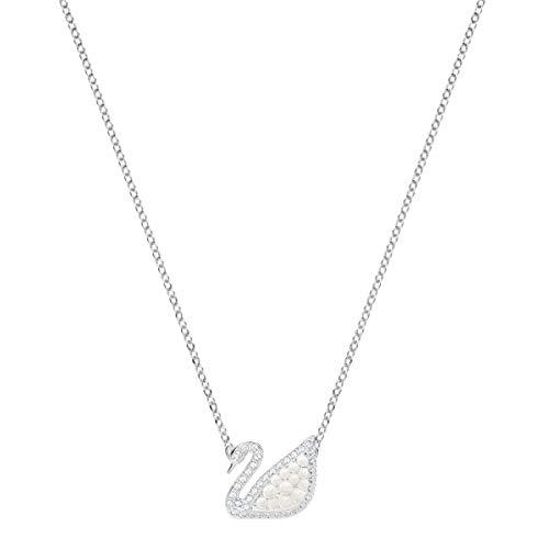 Swarovski Iconic Swan Halskette für Frauen, weißes Kristall, rhodiniert