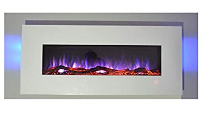 TruFlame 2020 NEW PREMIUM PRODUCT 50inch White Wall Mounted Electric Fire with 10 colour Flames and side LEDs (Pebbles, Logs and Crystals)!