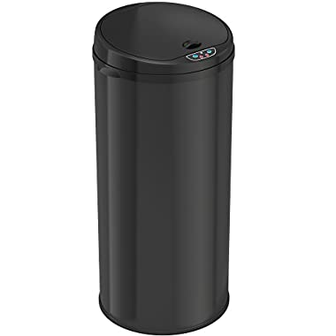 iTouchless 13 Gallon Automatic Sensor Kitchen Trash Can with Odor Filter – Black – Round – 49 Liter Sensor Trash Can