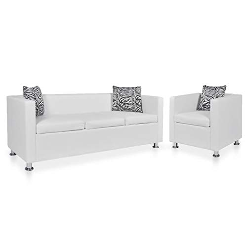 vidaXL Sofa Set Armchair and 3-Seater Couch Set Chaise Lounge Sofa Seats Living Room Seating Anteroom Reception Room Furniture White Faux Leather