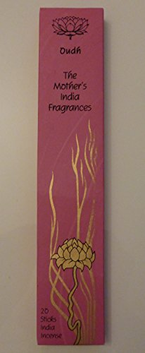 Oudh High Quality Fair Trade Hand Rolled Incense–The Mother' s India Fragrances–20Joss Incense Sticks–Burn Time 1–2Ore