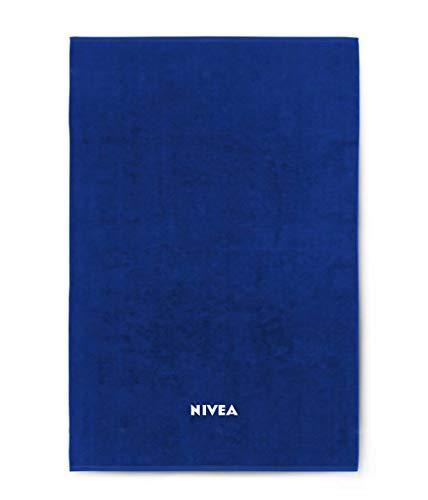 Nivea Badetuch (100 cm x 180 cm), weiches & schnelltrocknendes Duschtuch aus 100% Baumwolle, hochwertiges & ausbleichsicheres Handtuch mit eingewebtem Nivea Schriftzug, blau