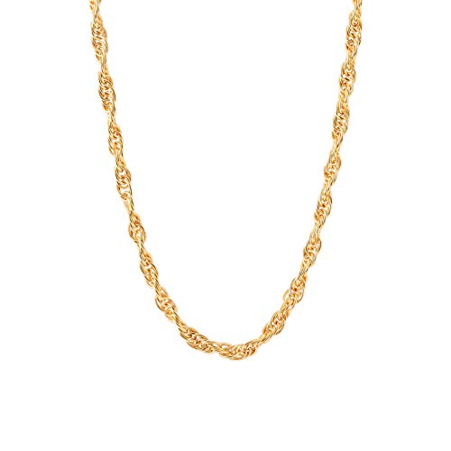 18k Gold Chunky Rope Chain Necklace for Men and Women Twist Braided Link Chain Necklace Unisex Fashion Jewelry 4mm