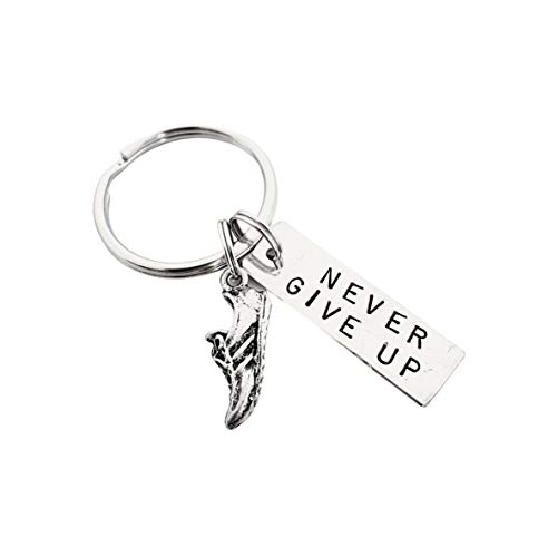 RUN and NEVER GIVE UP Key Chain/Bag Tag - Running Shoe Charm and Rectangle Nickel Silver Pendant on Stainless Steel Round Key Ring