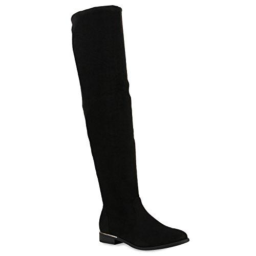 Damen Stiefel Overknees Veloursleder-Optik Winterstiefel Langschaftstiefel Metallic Blockabsatz Schuhe 122682 Schwarz 39 Flandell