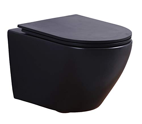 Spülrandloses Wand-WC inkl. Soft-Close Sitz WHR-6075 (matt-schwarz)