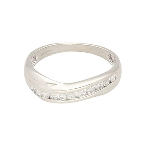 Anillo de eternidad para mujer de oro blanco de 9 quilates de 0,25 quilates (talla L) 4 mm de ancho, anillo de lujo para mujer