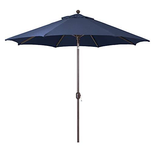 9-Foot Galtech (Model 737) Deluxe Auto-Tilt Umbrella with Antique Bronze Frame and Sunbrella Fabric Navy (Includes Extended Frame Warrantee)