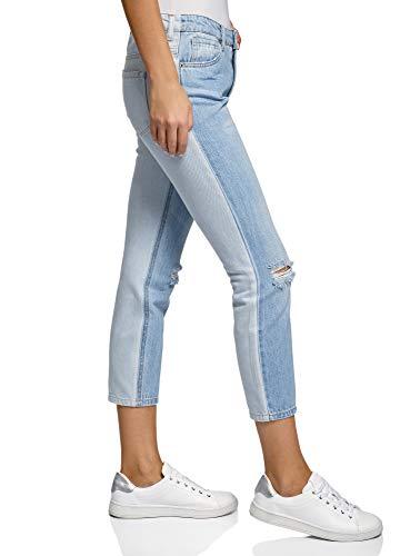 oodji Ultra Donna Jeans Boyfriend a Vita Regular, Blu, 27W / 32L