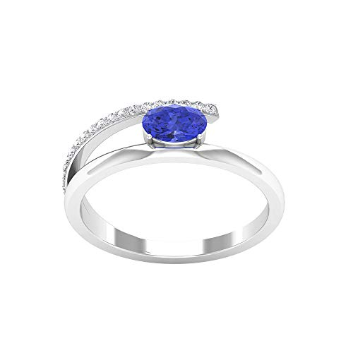 6X4 MM Oval Cut Lab Created Tanzanite Ring, HI-SI Diamond Accent Ring, Split Shank Engagement Ring (AAAA Quality), 14K Yellow Gold, Size:UK U1/2