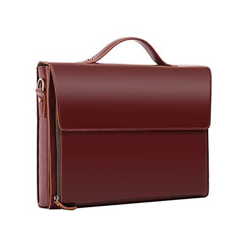 Leathario Herren Echtleder Aktentasche Ledertasche Laptoptasche für Business Vintage braun
