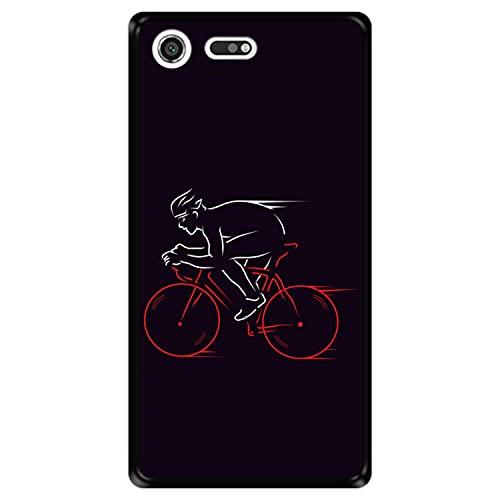 Hapdey Funda Negra para [ Sony Xperia XZ Premium ] diseño [ Atleta, Ciclista en Bicicleta ] Carcasa Silicona Flexible TPU