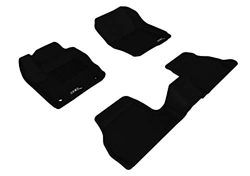 3D MAXpider All-Weather Floor Mats for Ford Focus 2012 2013 2014 2015 2016 2017 2018 Custom Fit Car Floor Liners, Kagu Series (1st & 2nd Row, Black)