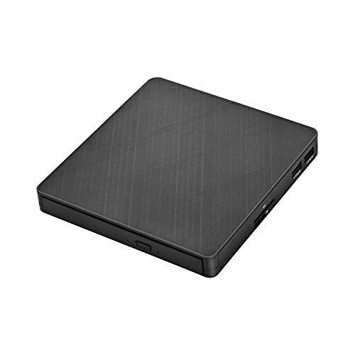 Kacsoo Reproductor de DVD Blu-ray 3D externo, reproductor de CD con 4 puertos (2 USB, SD, TF),quemador de CD DVD Blu-ray BD óptico compatible con MacOS,compatible con PC Windows XP / 7/8/10