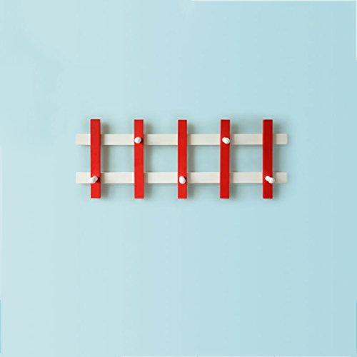 Rouge + Blanc/Noir + Blanc Woody Peut Être Déformé Crochet Simple Tenture Murale Pastorale Créative Porte-manteau Cintres (Couleur : 1, taille : 71 * 26.6 * 9cm)