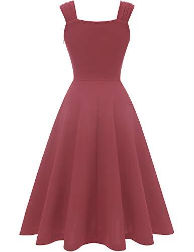 Dresstells Damen 1950er Midi Rockabilly Kleid Vintage V-Ausschnitt Cocktailkleid Faltenrock Raspberry XL - 3