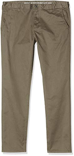 Dockers Alpha Original Khaki Slim-Stretch Twill Pantalones, Marrón (Dark Pebble 0433), 36W / 32L para Hombre